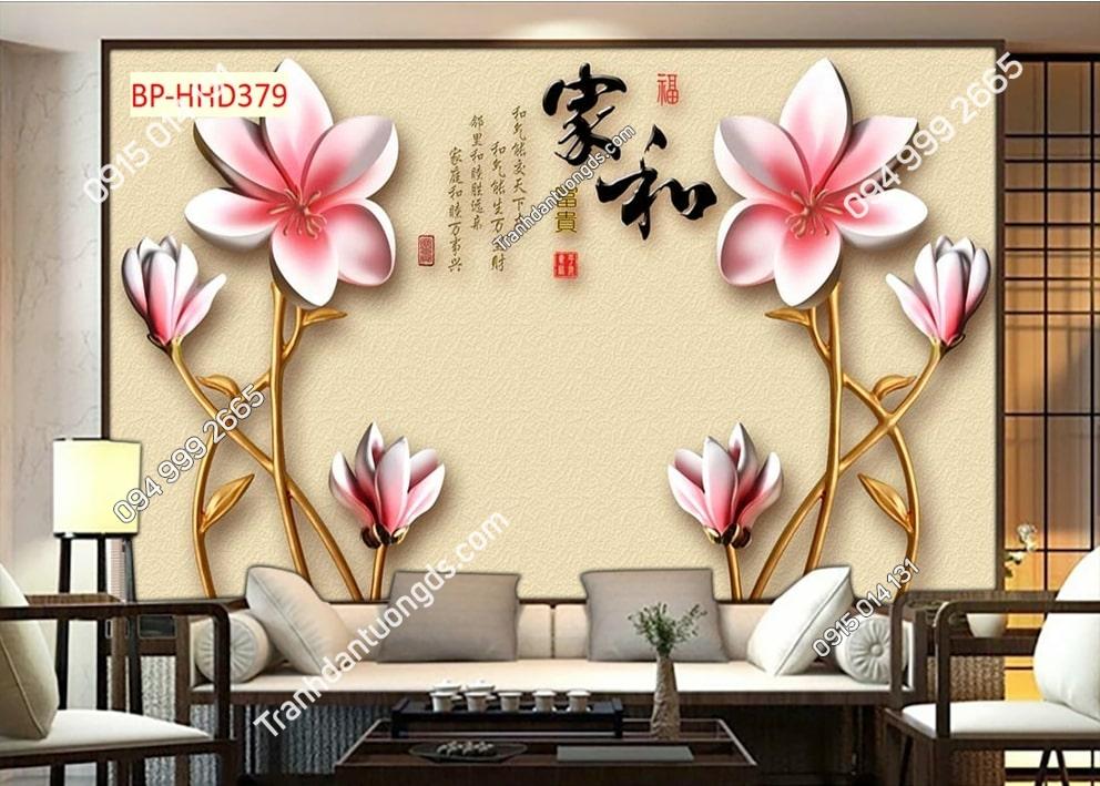 Tranh hoa hồng 3D dán phòng khách HHD379