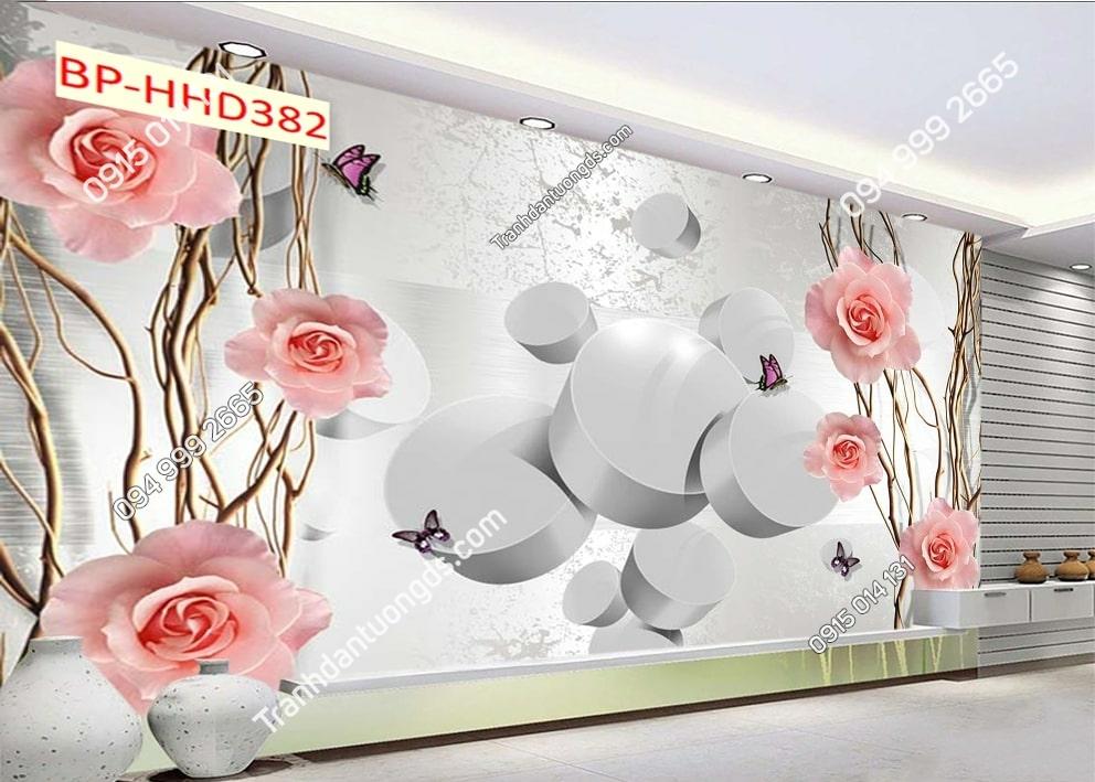 Tranh hoa hồng 3D dán phòng khách HHD382