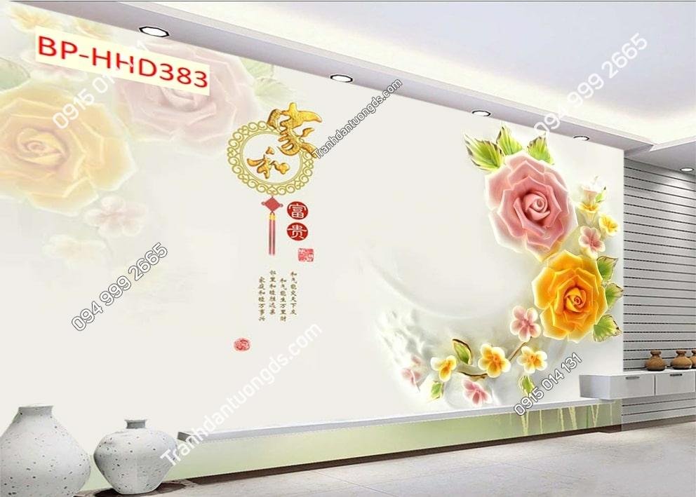 Tranh hoa hồng 3D dán phòng khách HHD383