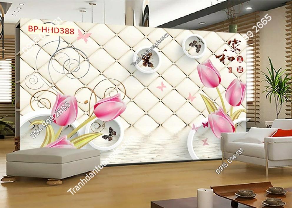 Tranh hoa hồng 3D dán phòng khách HHD388