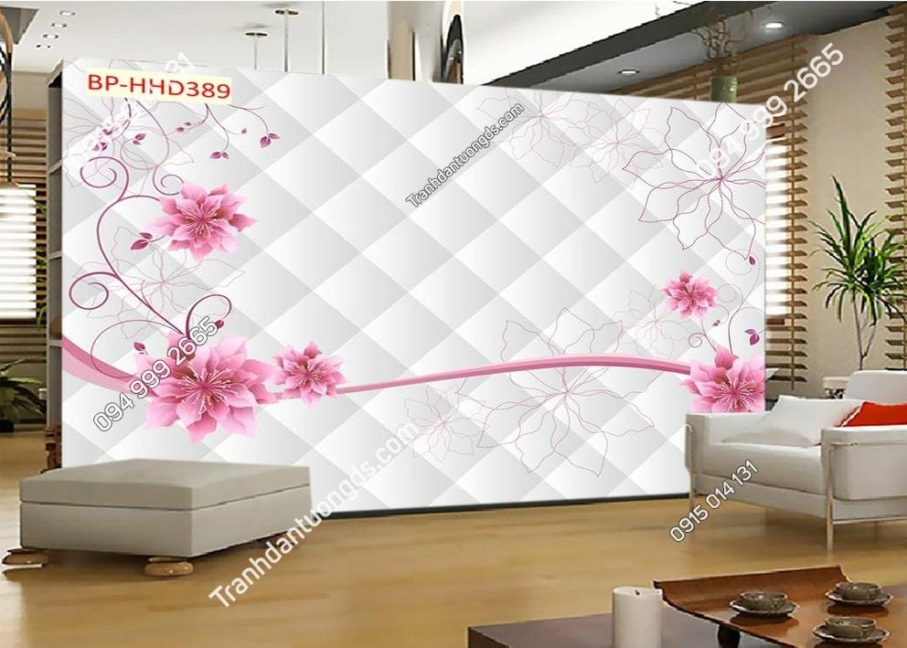 Tranh hoa hồng 3D dán phòng khách HHD389