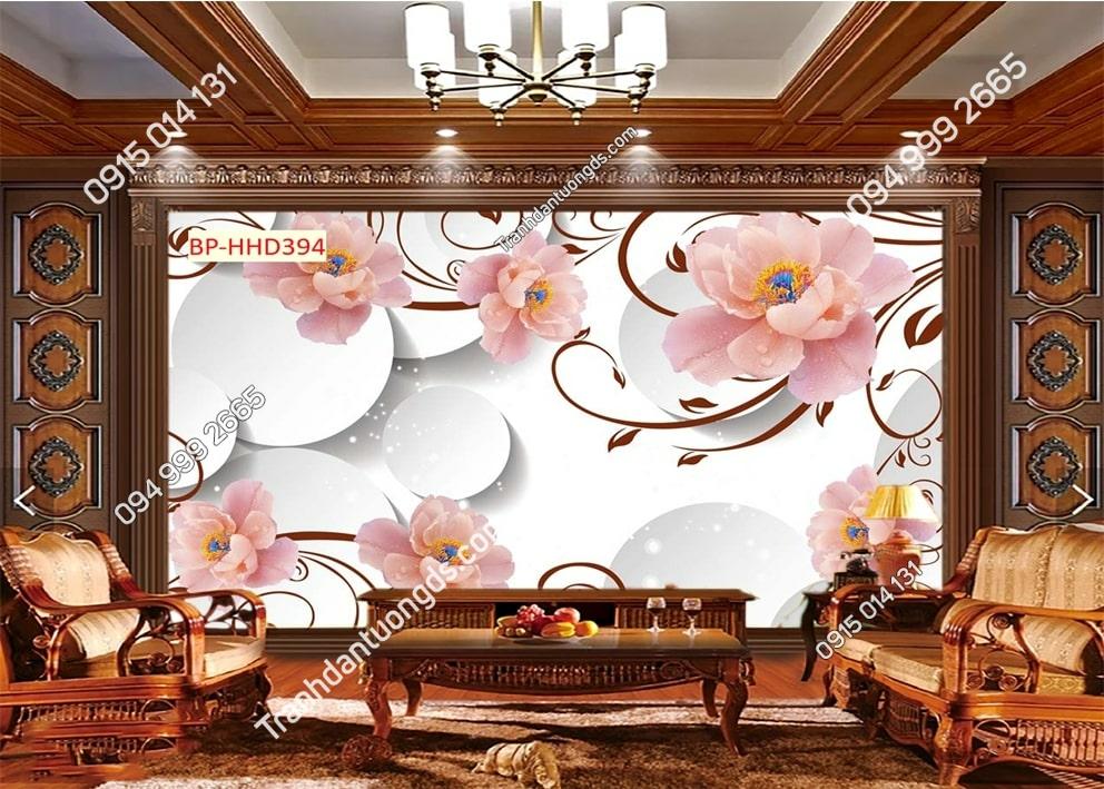 Tranh hoa hồng 3D dán phòng khách HHD394