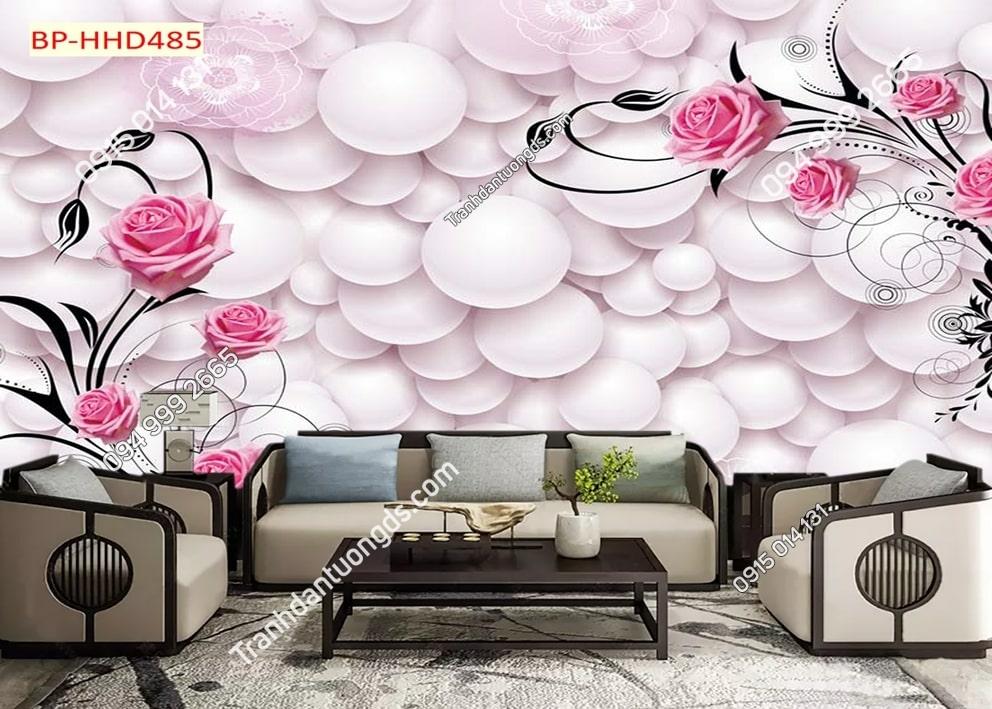 Tranh hoa hồng 3D dán phòng khách HHD485