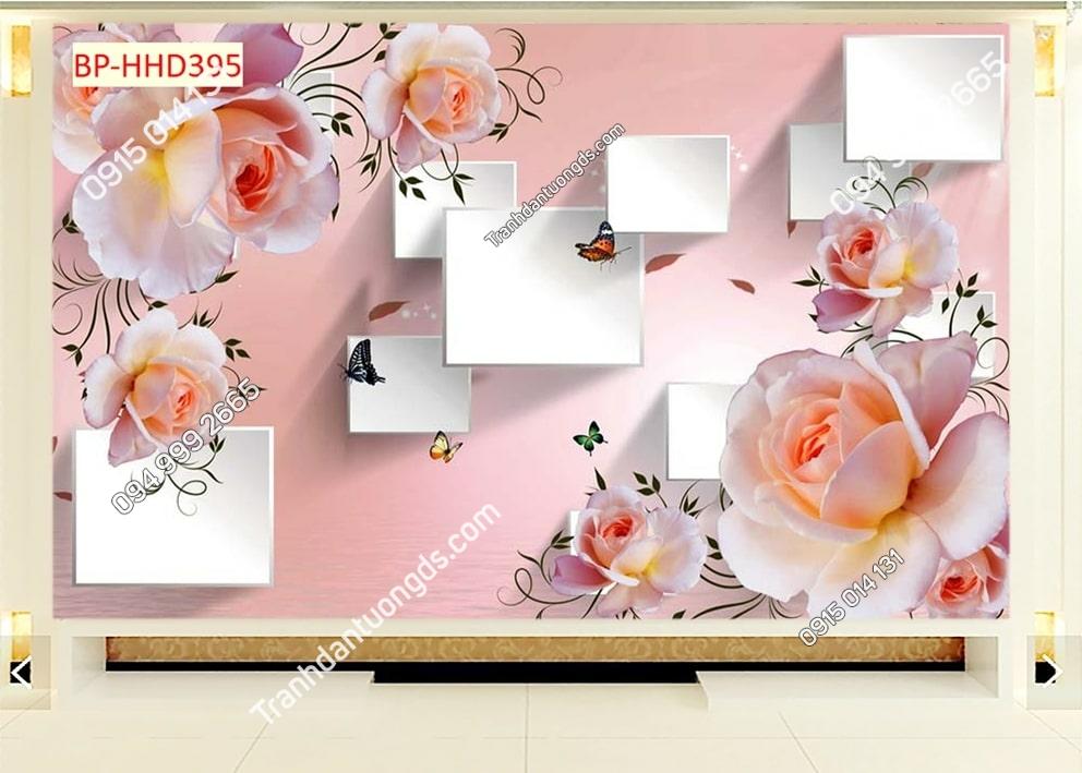 Tranh hoa hồng 3D dán phòng ngủ HHD395