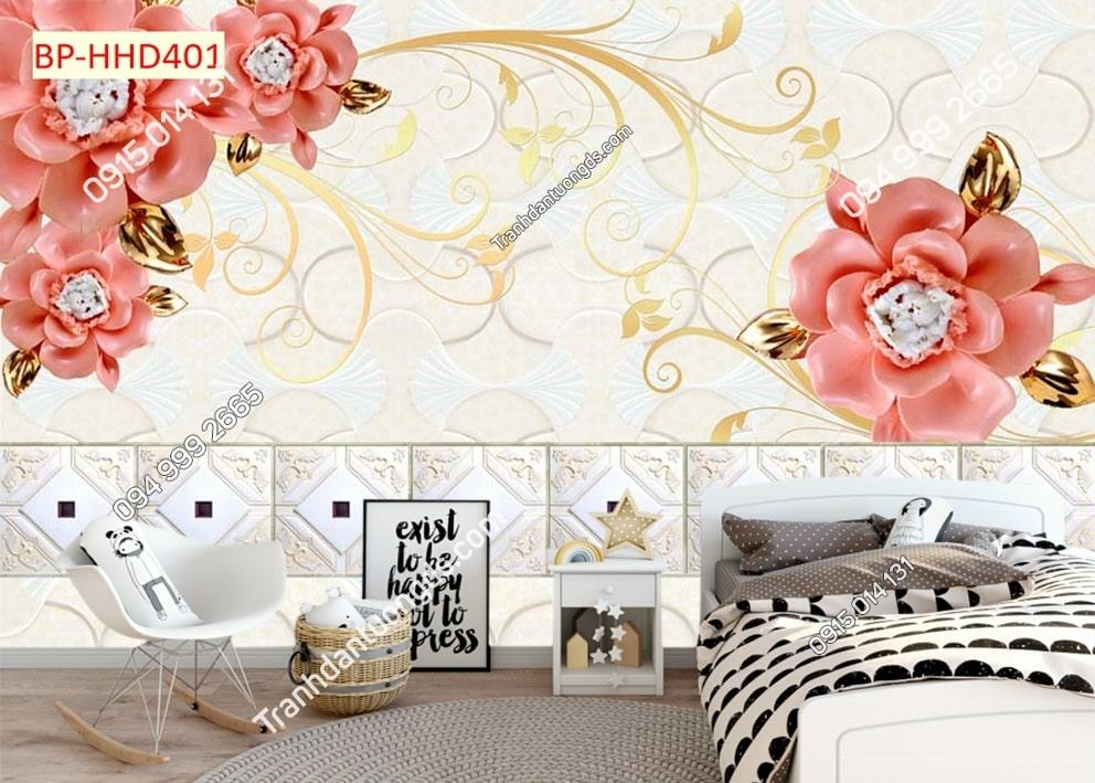 Tranh hoa hồng 3D dán phòng ngủ HHD401