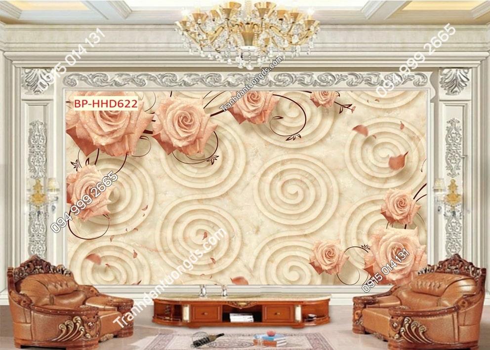 Tranh hoa hồng 3D dán tường phòng khách HHD622