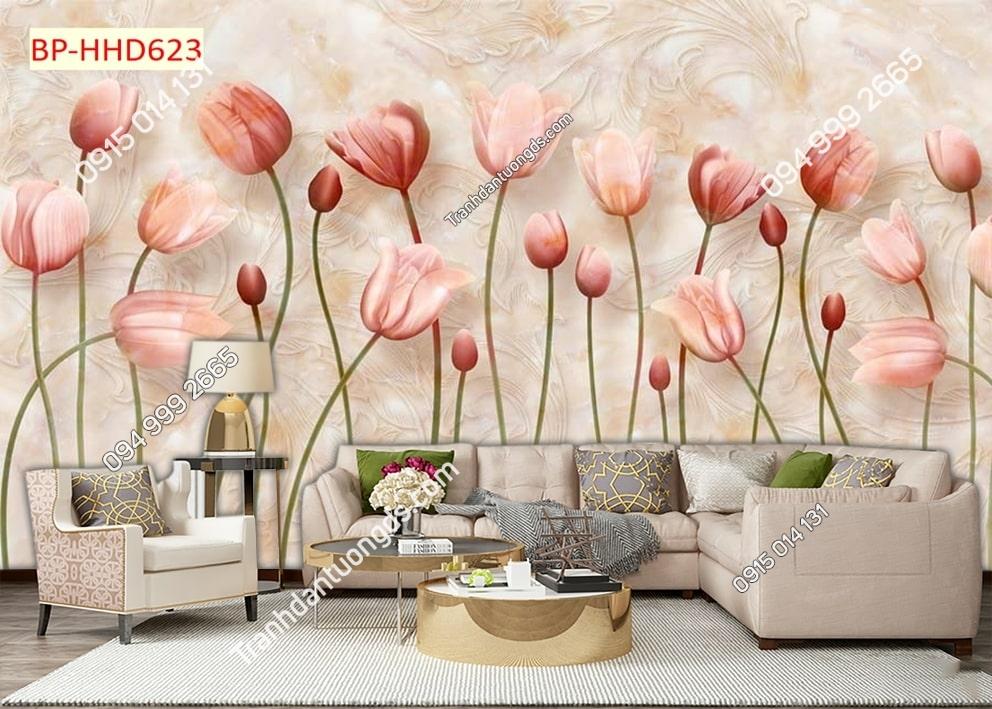 Tranh hoa hồng 3D dán tường phòng khách HHD623