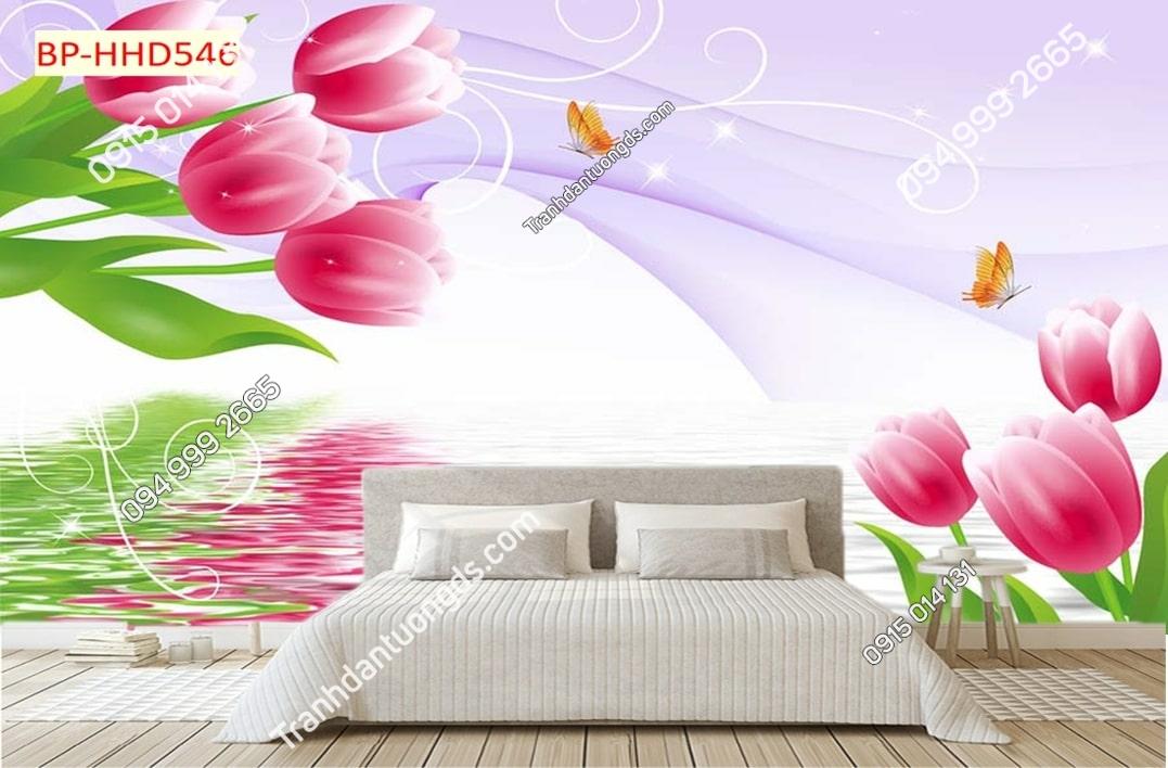 Tranh hoa hồng 3d dán phòng ngủ HHD546