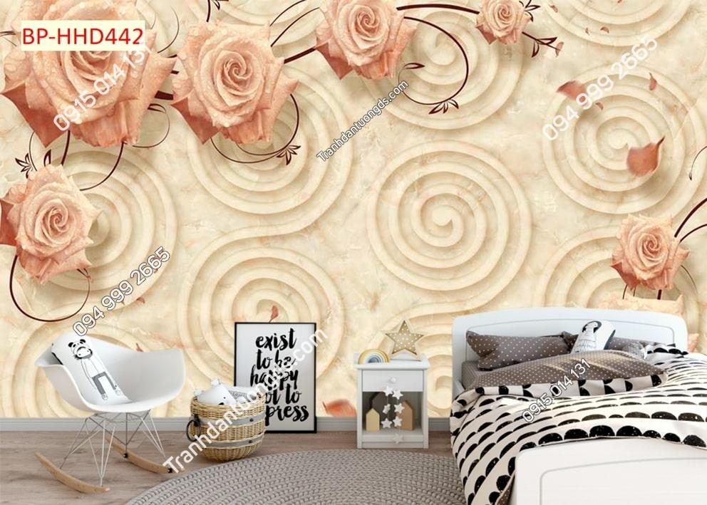 Tranh hoa hồng cam dán phòng ngủ HHD442