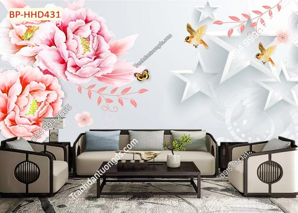 Tranh hoa hồng dán tường phòng khách HHD431
