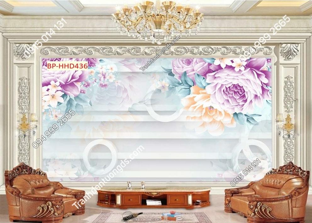 Tranh hoa hồng dán tường phòng khách HHD436