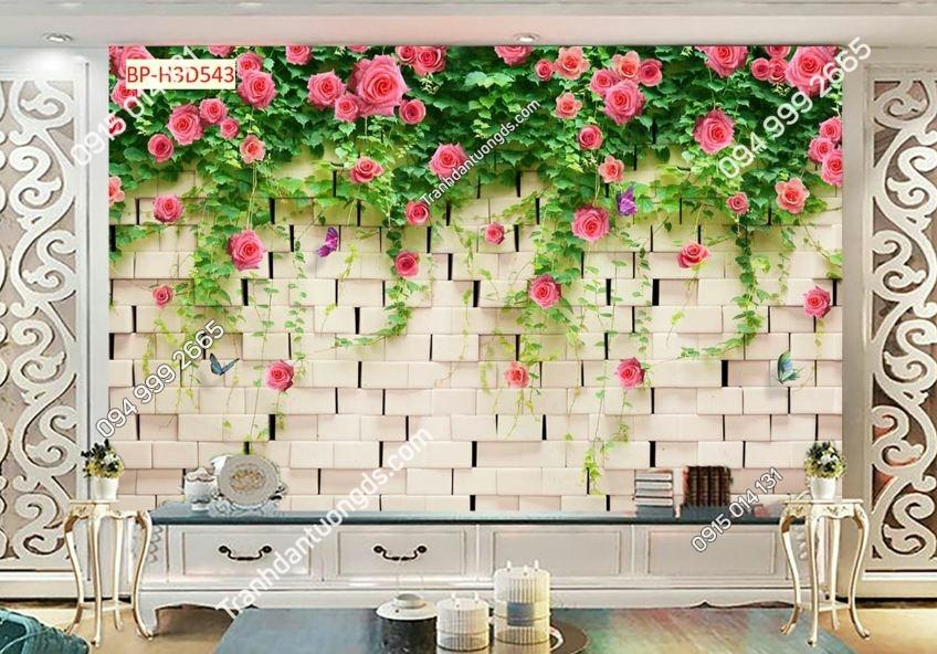 Tranh hoa hồng leo tường đá H3D543
