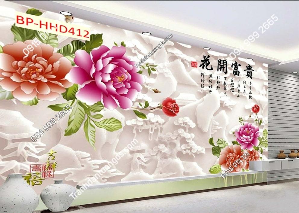 Tranh hoa hồng ngọc dán tường phòng khách HHD412