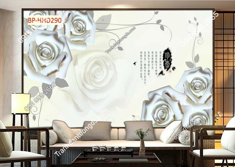 Tranh hoa hồng trắng HHD290