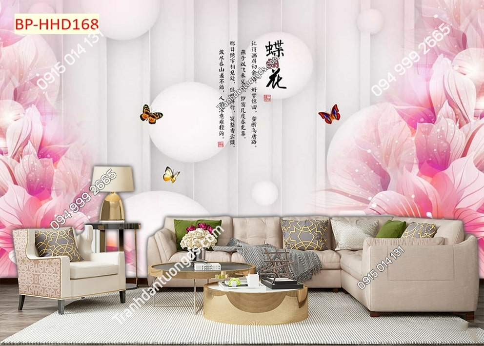 Tranh hoa hồng và bướm HHD168