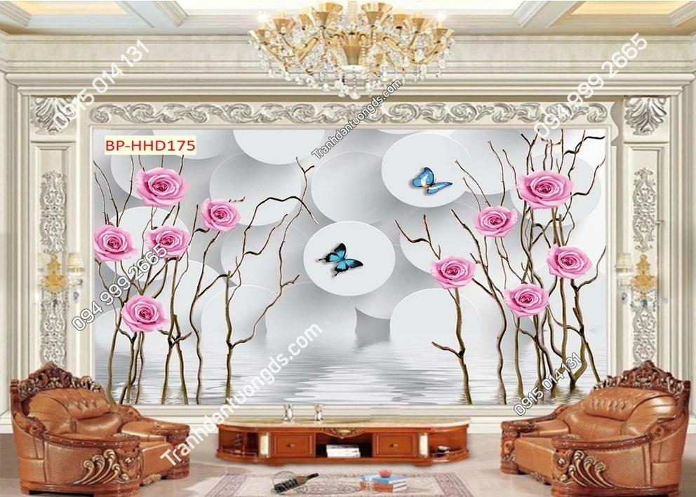 Tranh hoa hồng và bướm HHD175