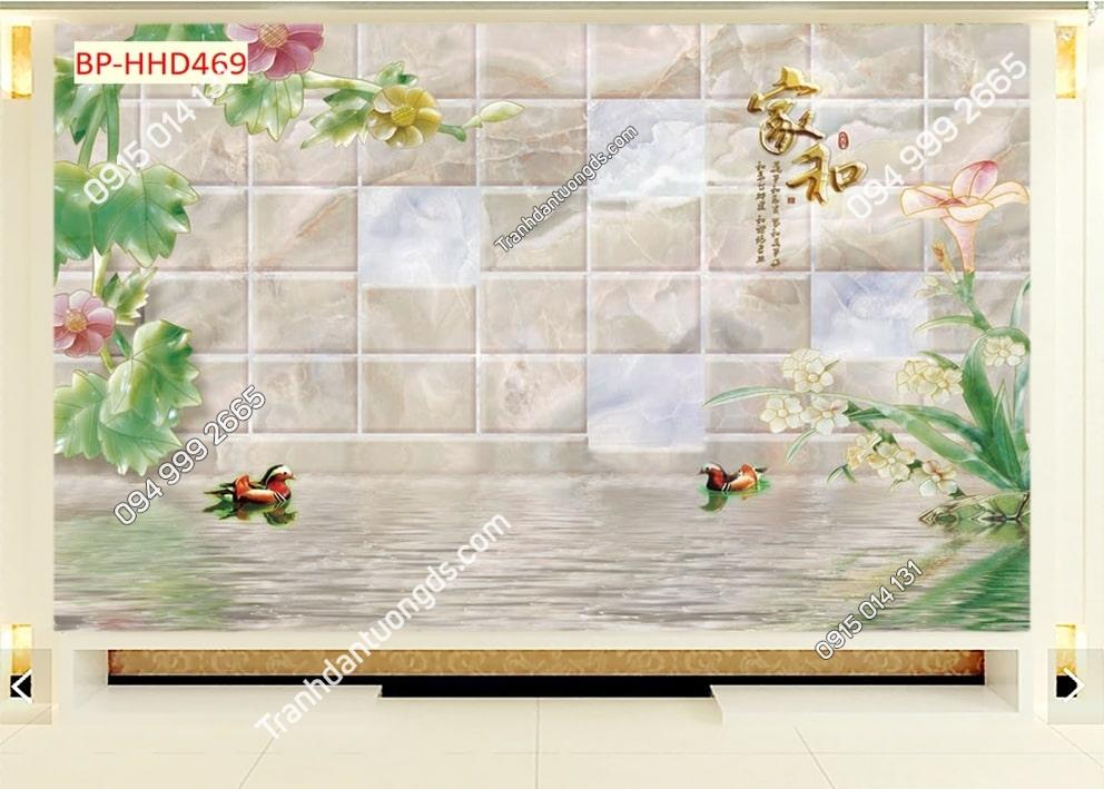 Tranh hoa hồng và đôi vịt HHD469