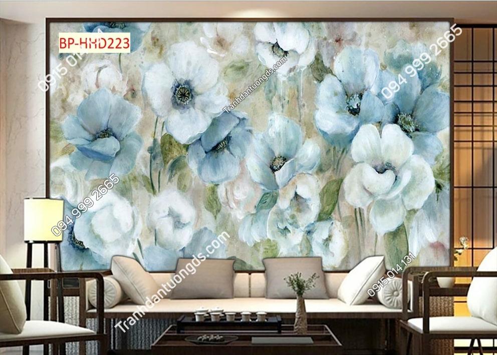 Tranh hoa kiểu vẽ xanh 3D dán tường HHD223