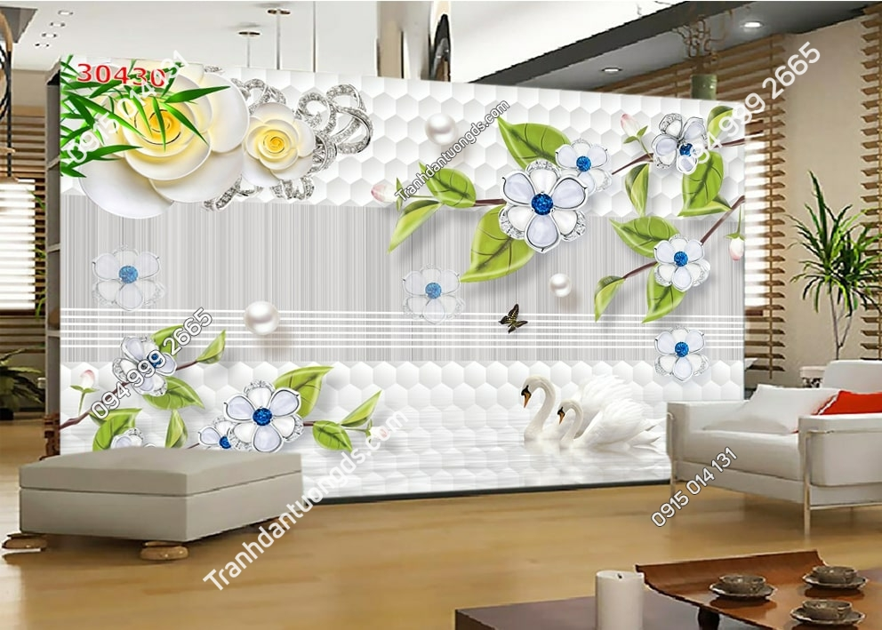 Tranh hoa lá hiện đại 30430