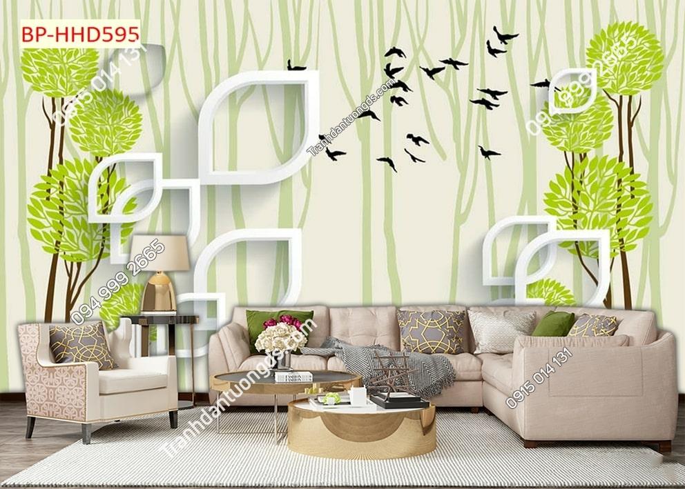 Tranh hoa lá hiện đại xanh 3D dán tường HHD595