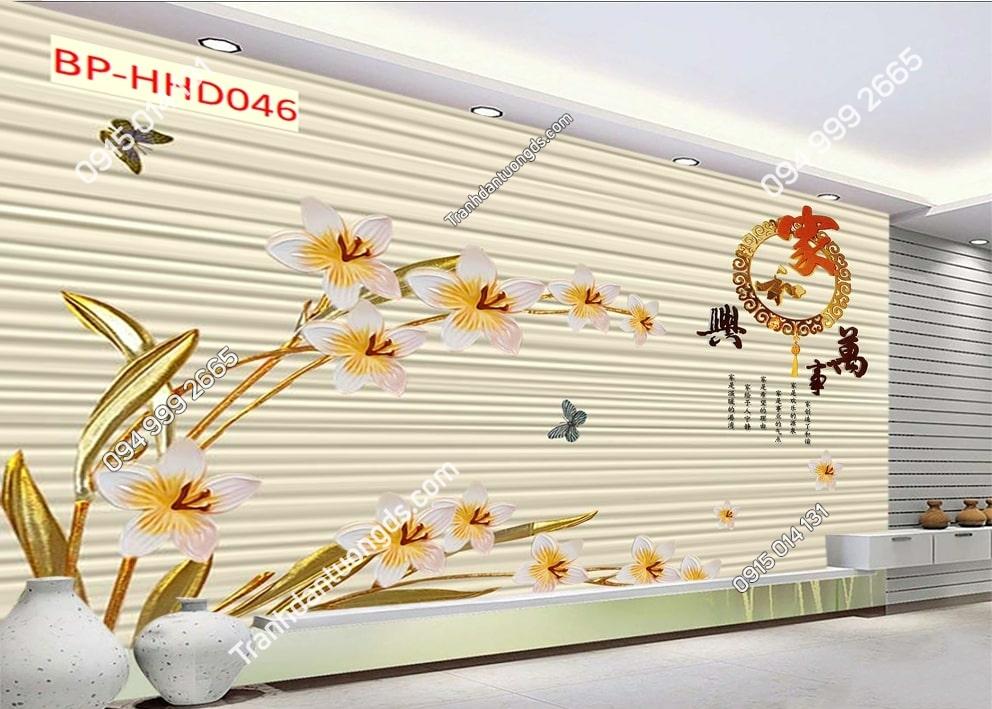 Tranh hoa lá vàng HHD046