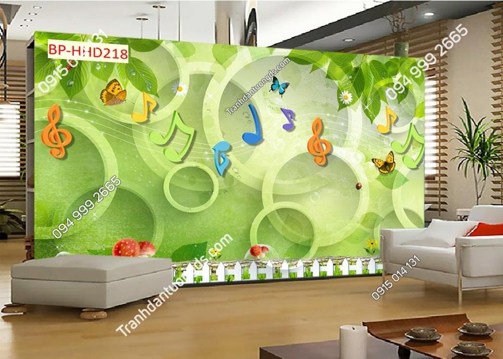 Tranh hoa lá xanh 3D dán tường HHD218