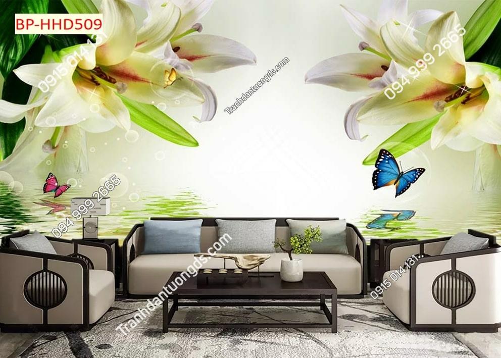 Tranh hoa lá xanh 3D dán tường HHD509