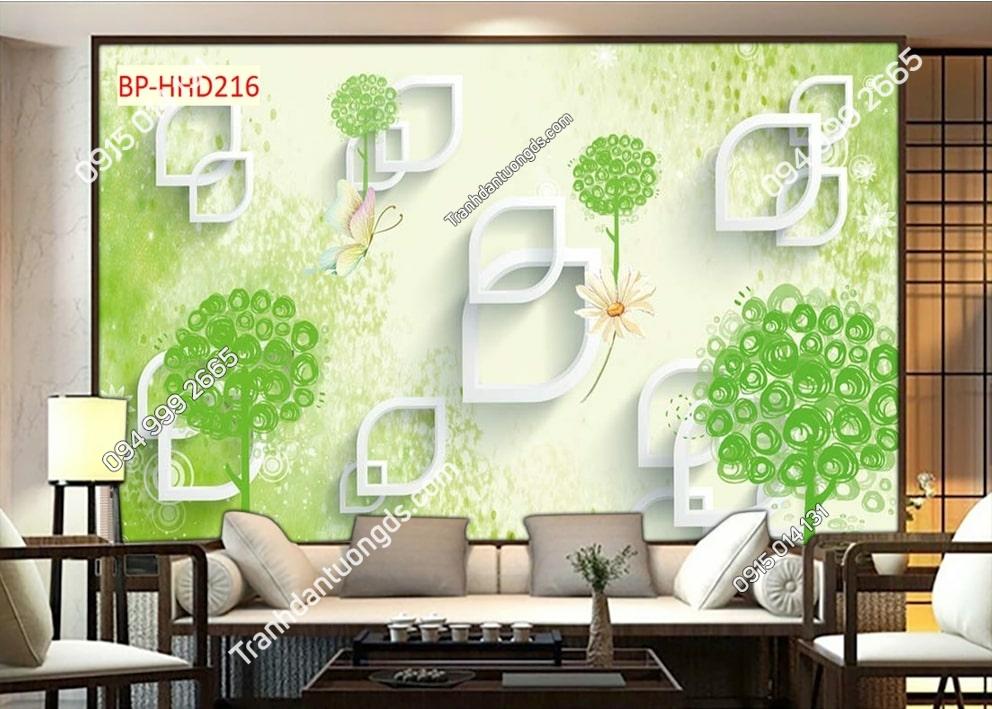 Tranh hoa lá xanh hiện đại 3D dán tường HHD216