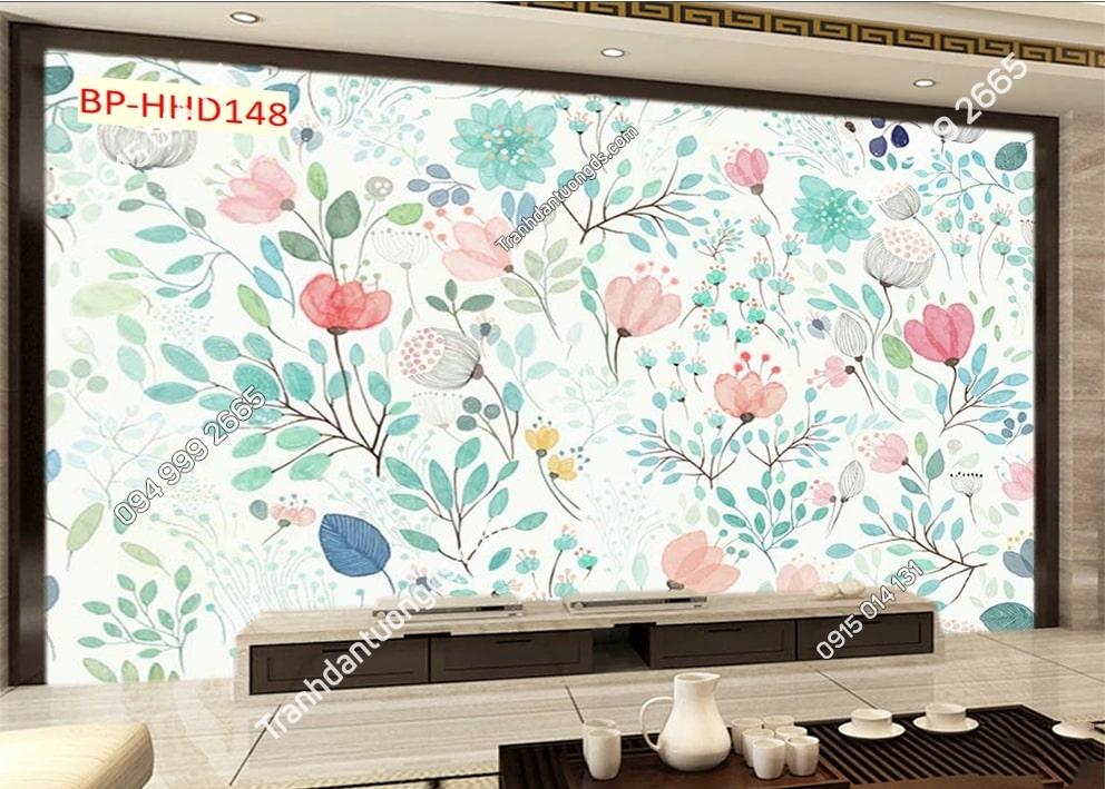 Tranh hoa lá xanh hoạt hình 3D dán tường HHD148