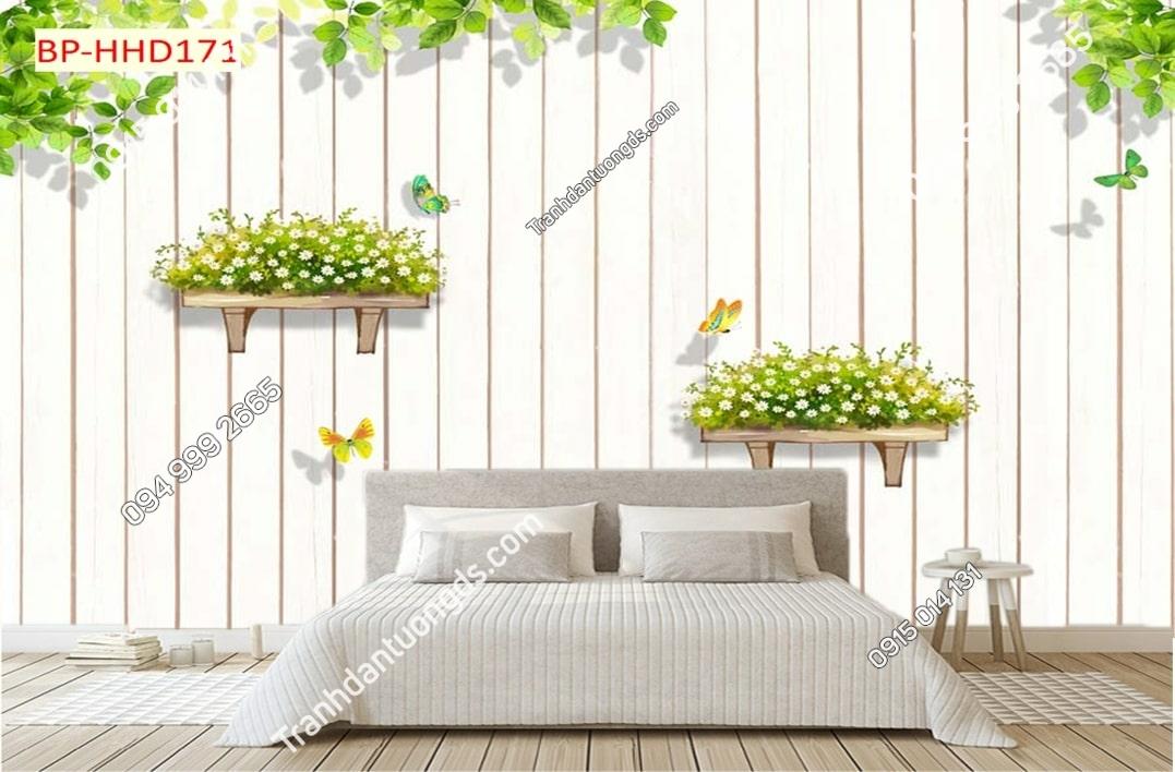 Tranh hoa lá xanh trên tường gỗ 3D dán tường HHD171