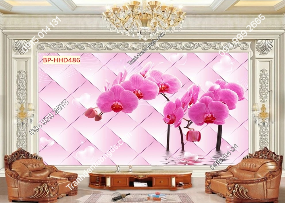 Tranh hoa lan hồng 3D HHD486