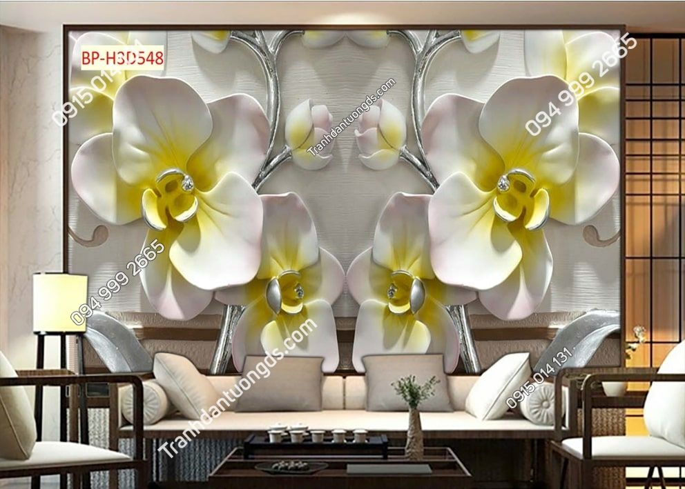 Tranh hoa lan nhụy vàng H3D548