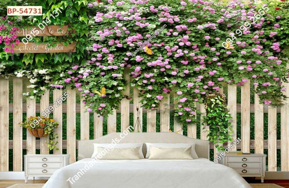 Tranh hoa leo hàng rào gỗ 54731