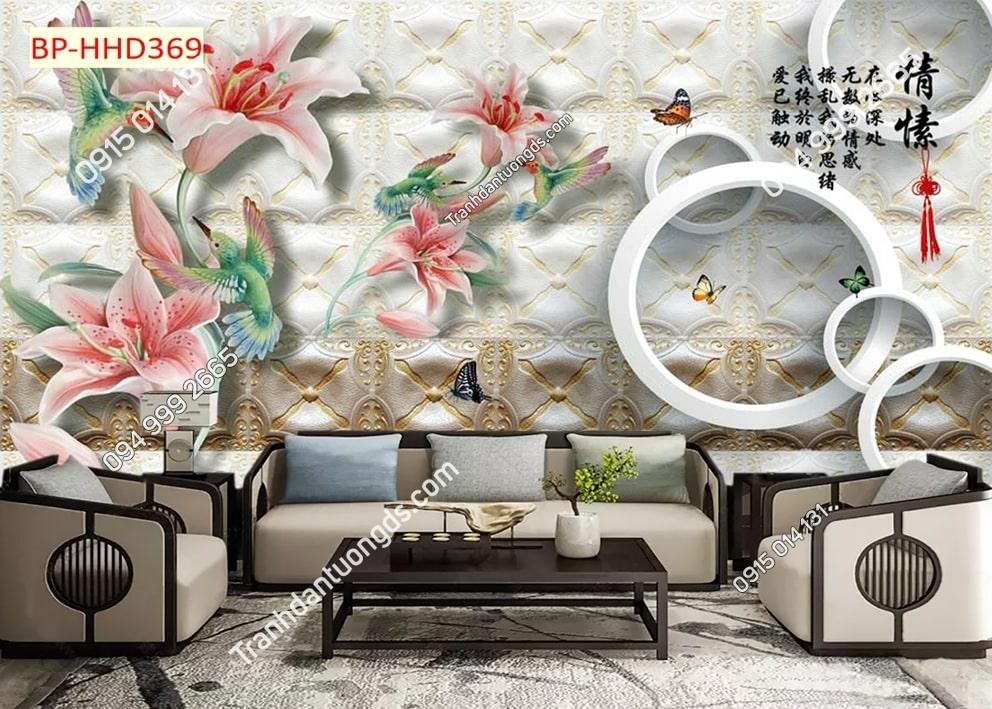 Tranh hoa loa kèn hồng 3D HHD369
