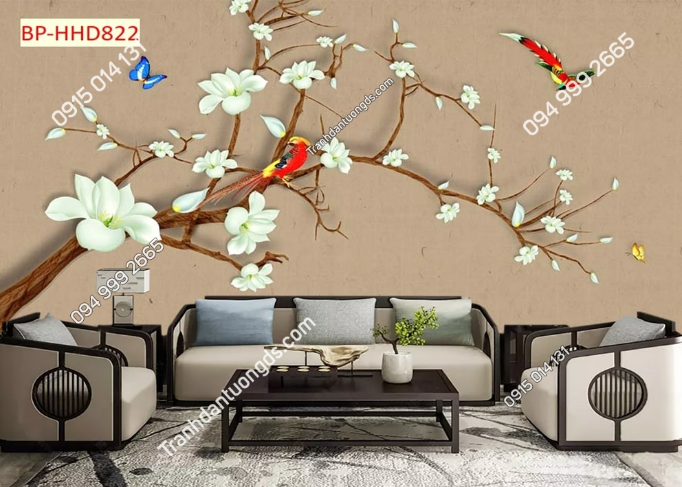 Tranh hoa mai trắng và chim HHD822