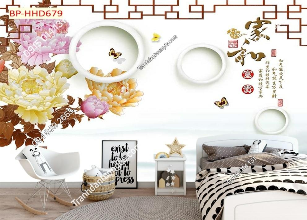 Tranh hoa mẫu đơn 3D màu hồng dán tường phòng khách HHD679