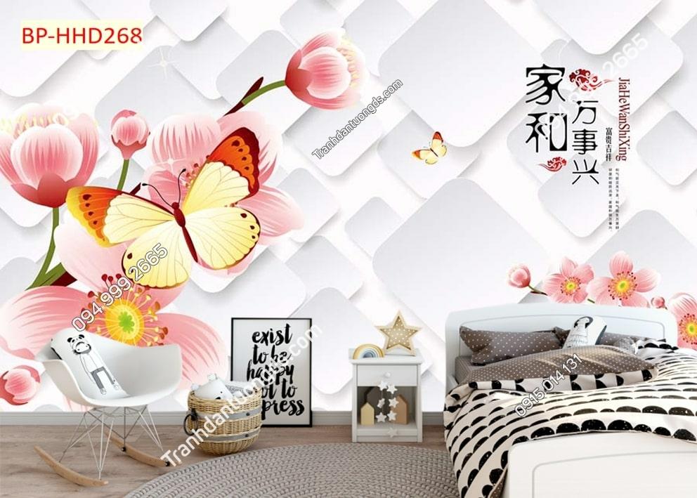 Tranh hoa màu hồng 3D HHD268