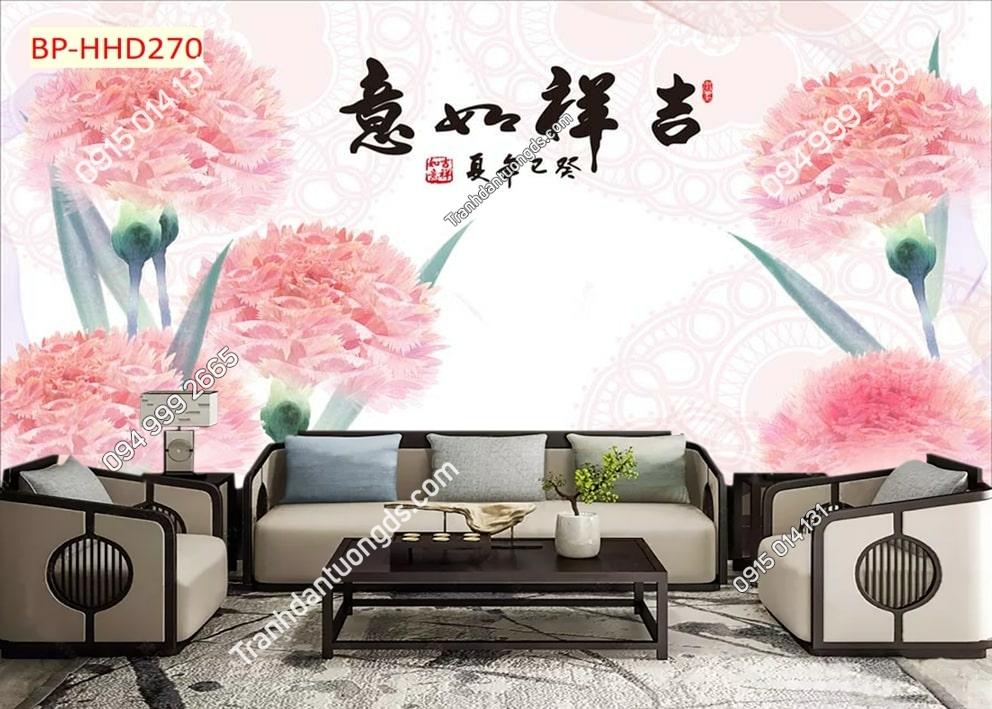 Tranh hoa màu hồng 3D HHD270