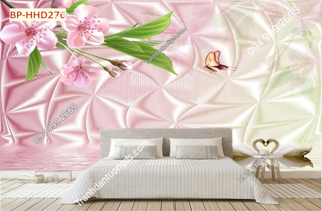 Tranh hoa màu hồng 3D HHD276