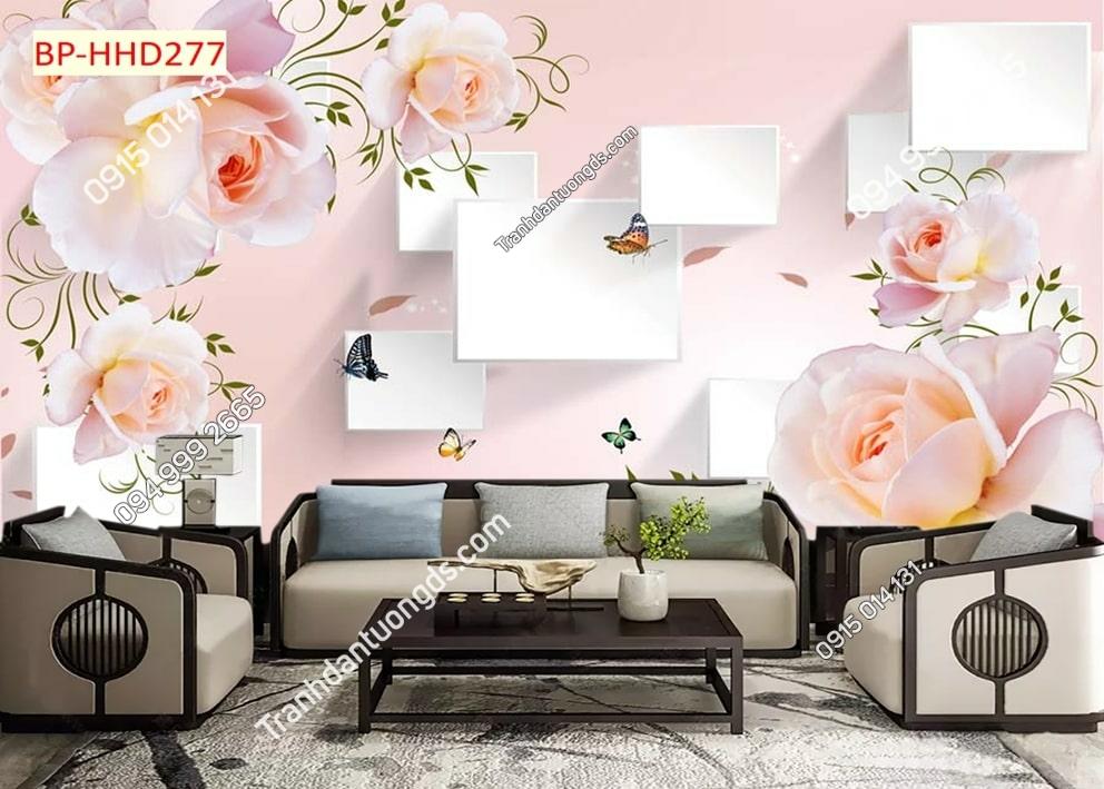 Tranh hoa màu hồng 3D HHD277