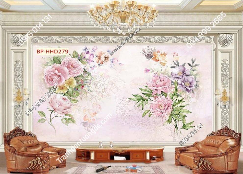 Tranh hoa màu hồng 3D HHD279