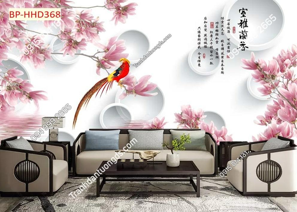 Tranh hoa màu hồng và chim HHD368
