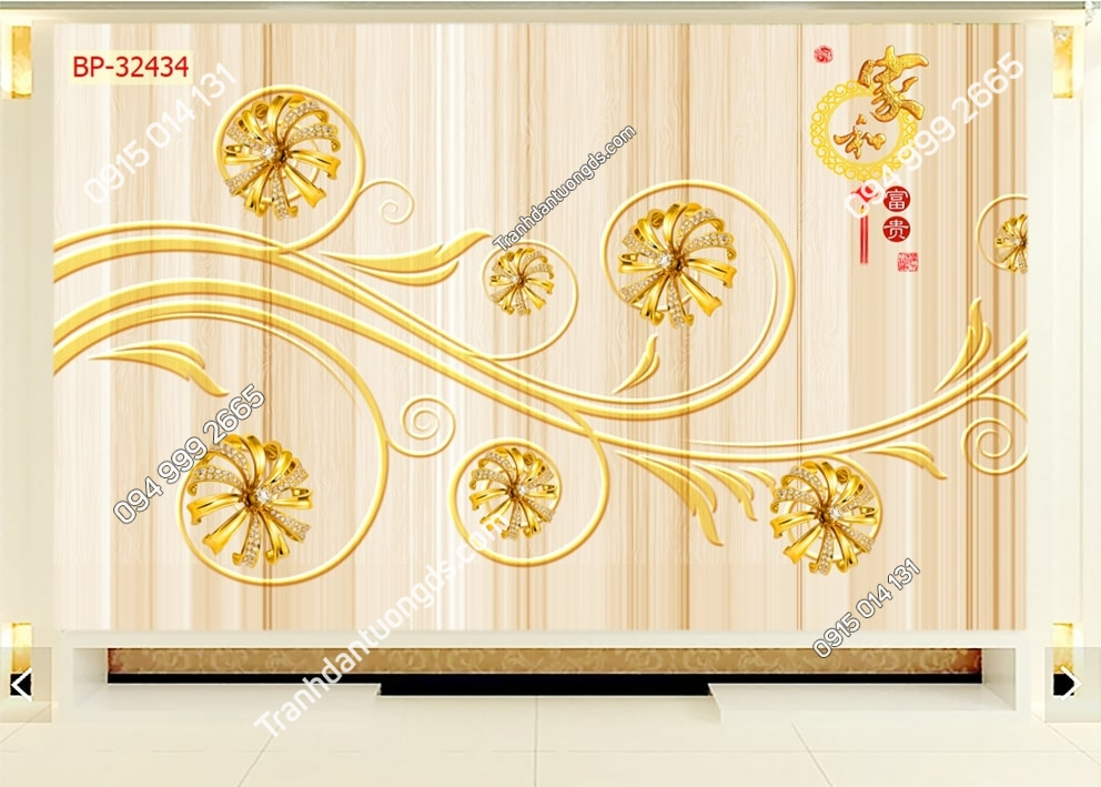 Tranh hoa móc vàng 3D 32434