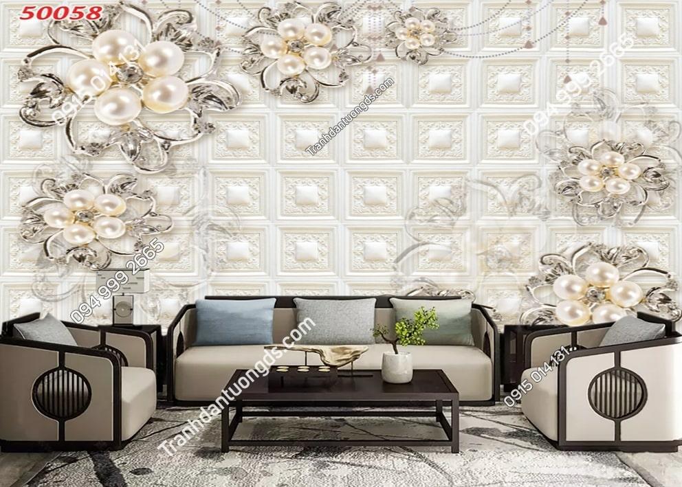 Tranh hoa ngọc trai dán tường 50058