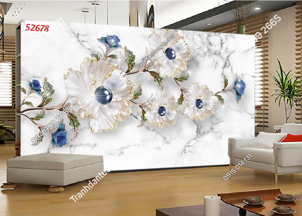 Tranh hoa ngọc xanh 52678