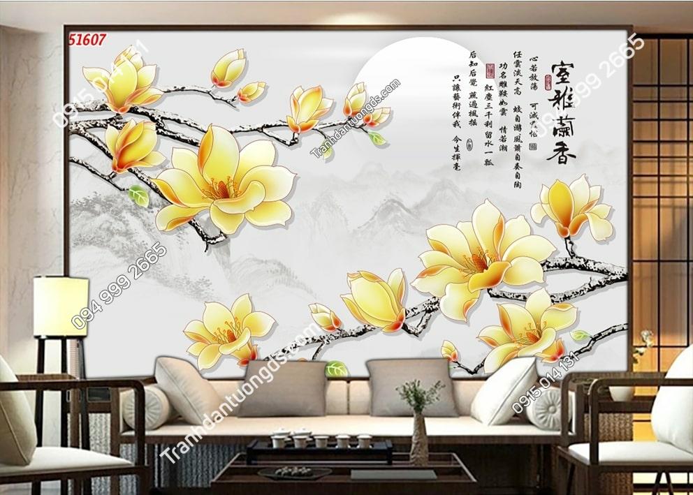 Tranh hoa nhụy vàng và thơ 51607