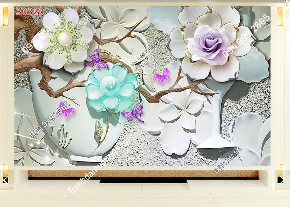 Tranh hoa nổi điêu khắc 30323