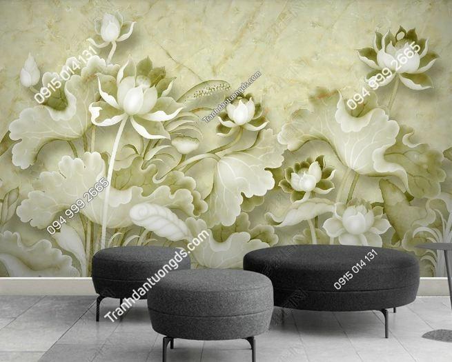 Tranh hoa sen giả ngọc xanh 3D DS_12330271
