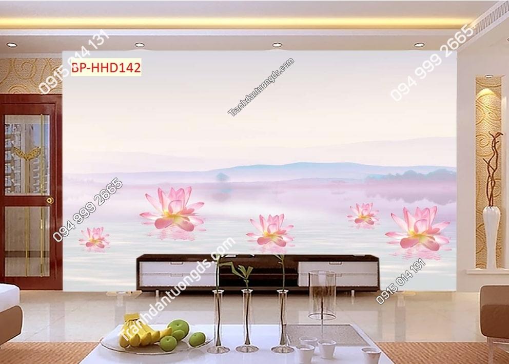 Tranh hoa sen hồng HHD142