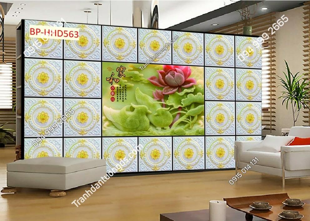 Tranh hoa sen ngọc lá xanh 3D dán tường HHD563